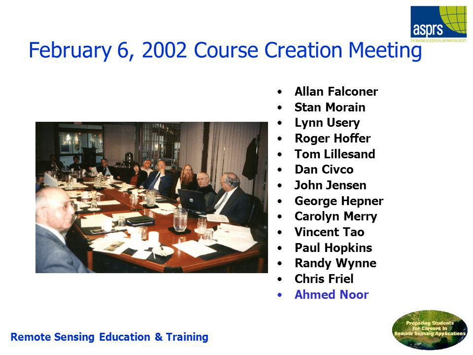 February 6, 2002 Course Creation Meeting