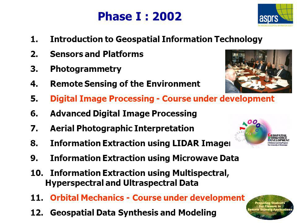Phase I : 2002 Introduction to Geospatial Information Technology