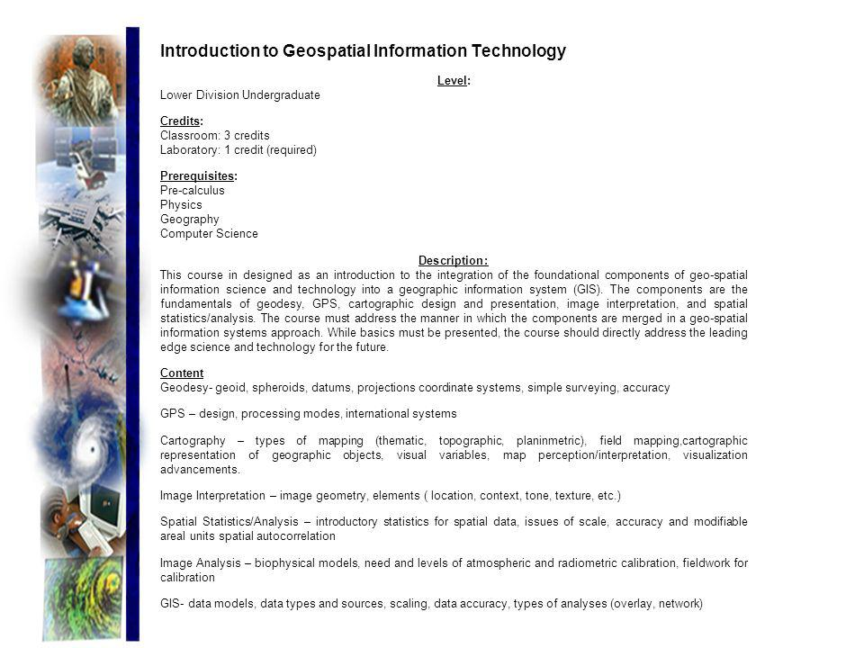 Introduction to Geospatial Information Technology