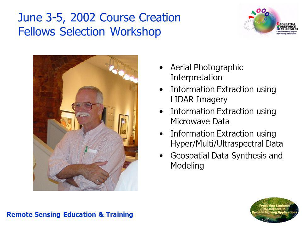 June 3-5, 2002 Course Creation Fellows Selection Workshop