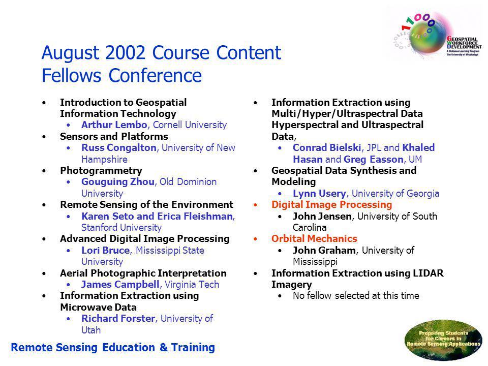 August 2002 Course Content Fellows Conference