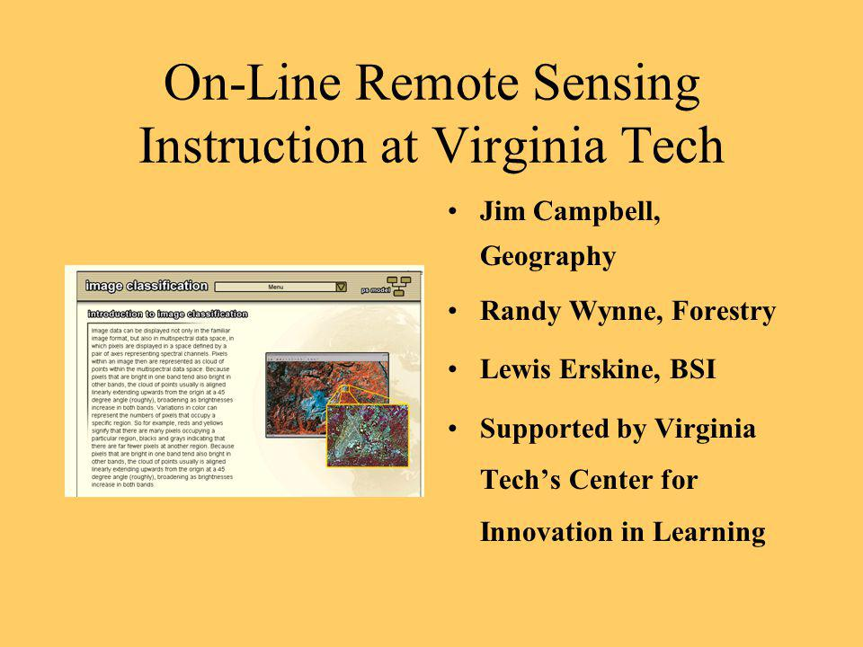On-Line Remote Sensing Instruction at Virginia Tech