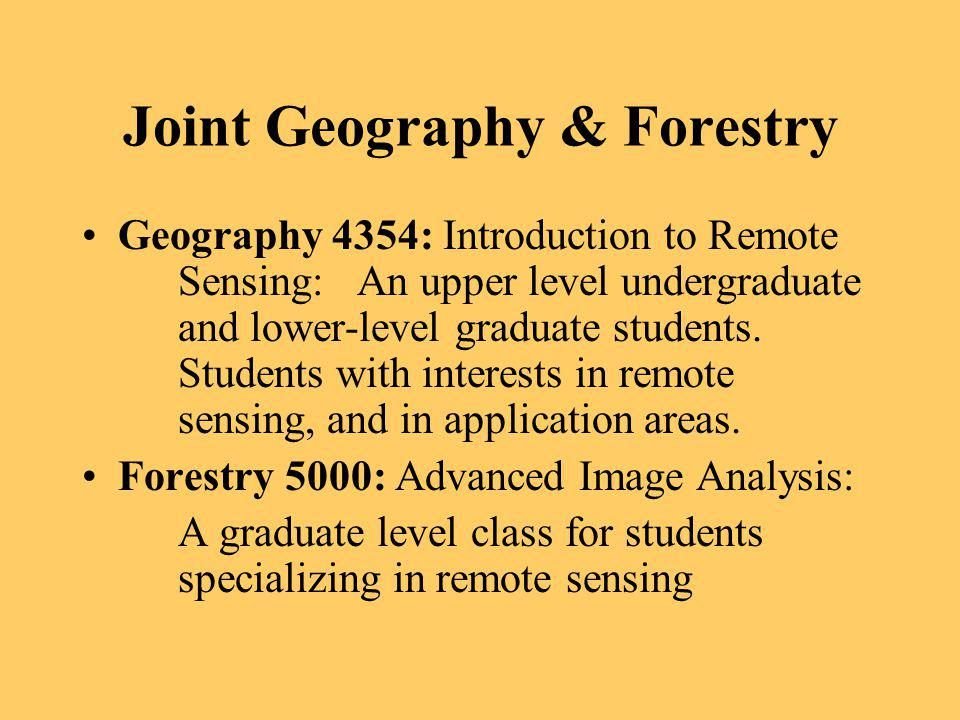Joint Geography & Forestry