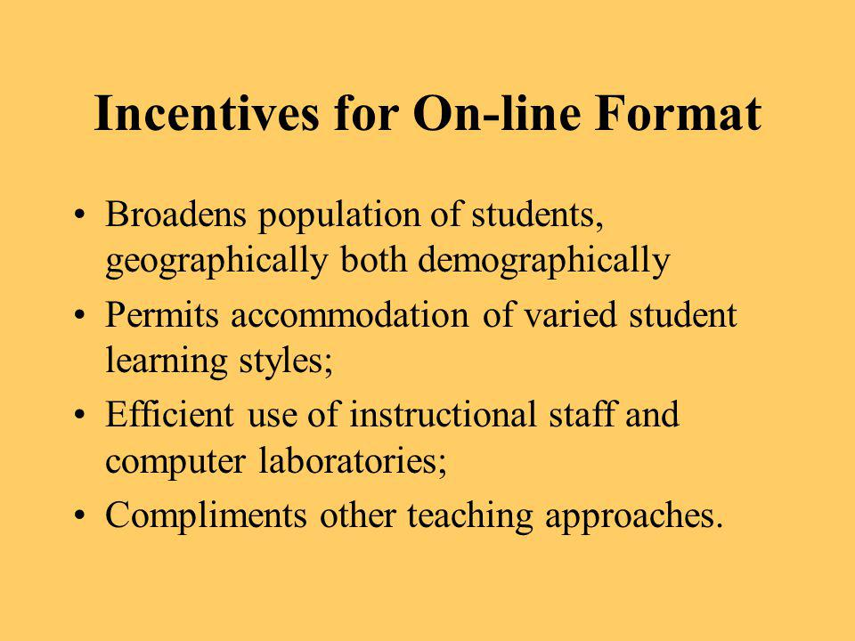 Incentives for On-line Format
