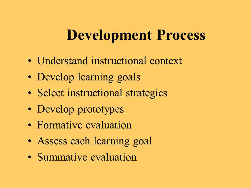 Development Process Understand instructional context