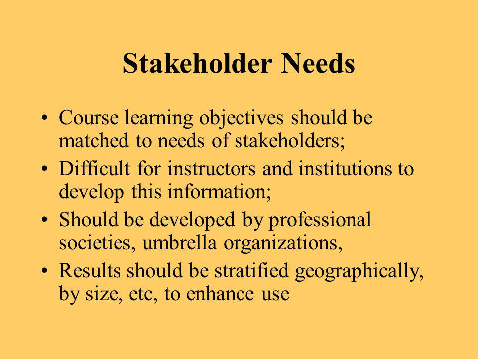 Stakeholder Needs Course learning objectives should be matched to needs of stakeholders;