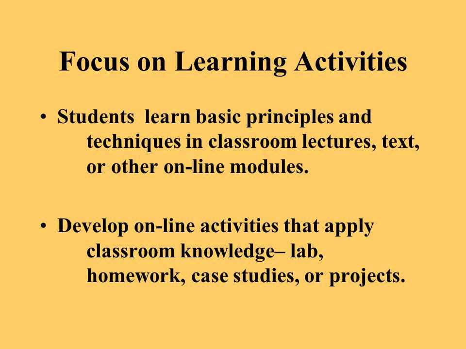 Focus on Learning Activities