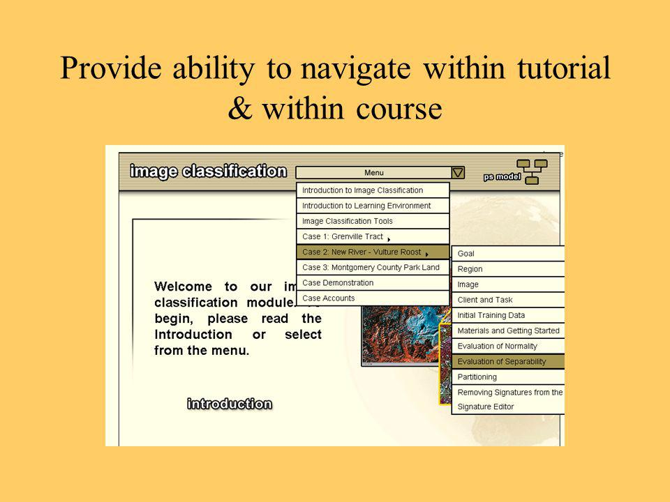 Provide ability to navigate within tutorial & within course