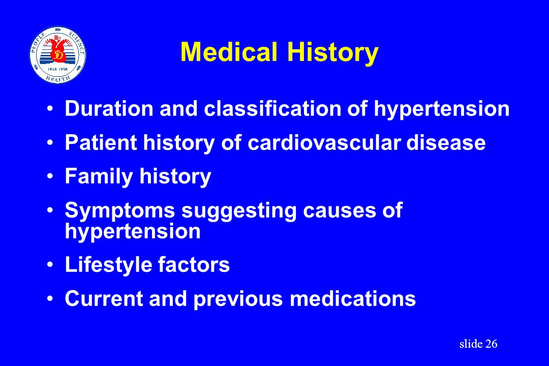 Medical History Duration and classification of hypertension