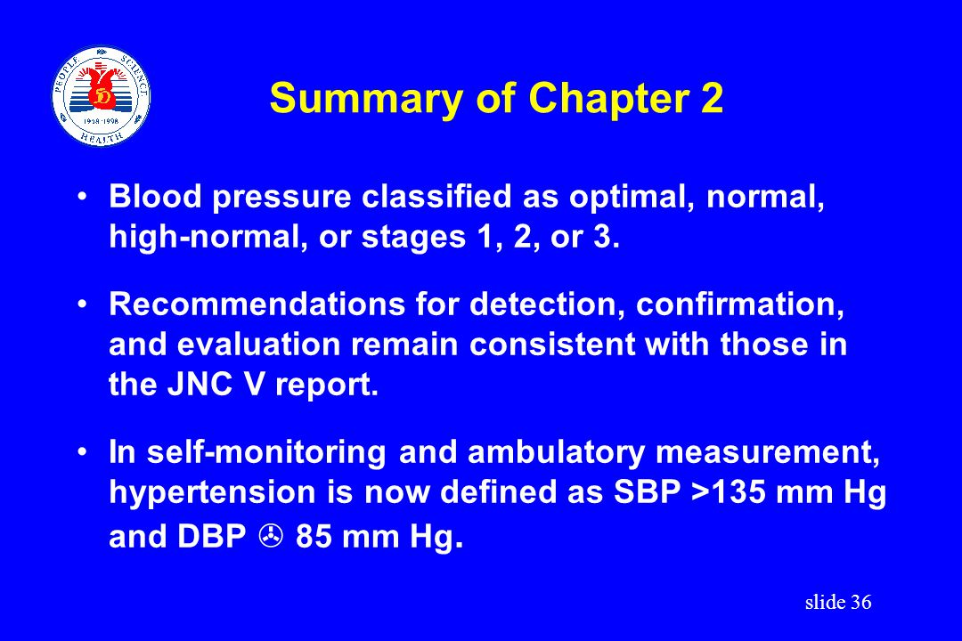 Summary of Chapter 2 Blood pressure classified as optimal, normal, high-normal, or stages 1, 2, or 3.