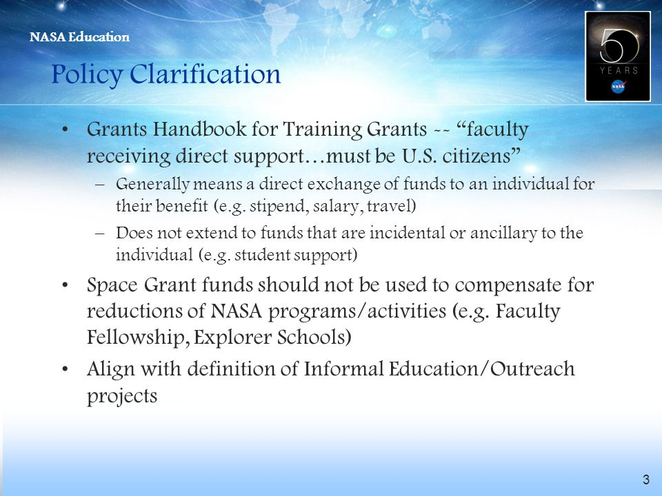 Policy Clarification Grants Handbook for Training Grants -- faculty receiving direct support…must be U.S. citizens