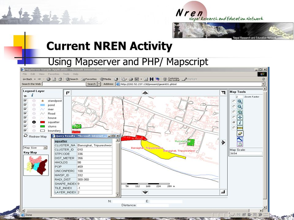 Current NREN Activity Using Mapserver and PHP/ Mapscript