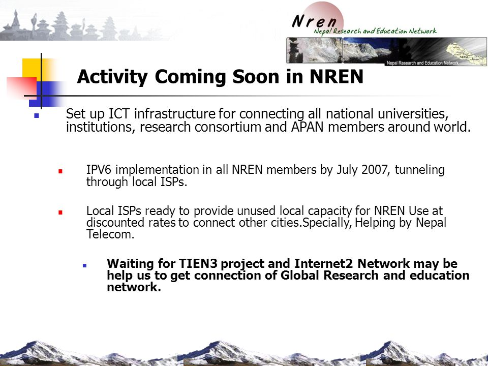 Activity Coming Soon in NREN