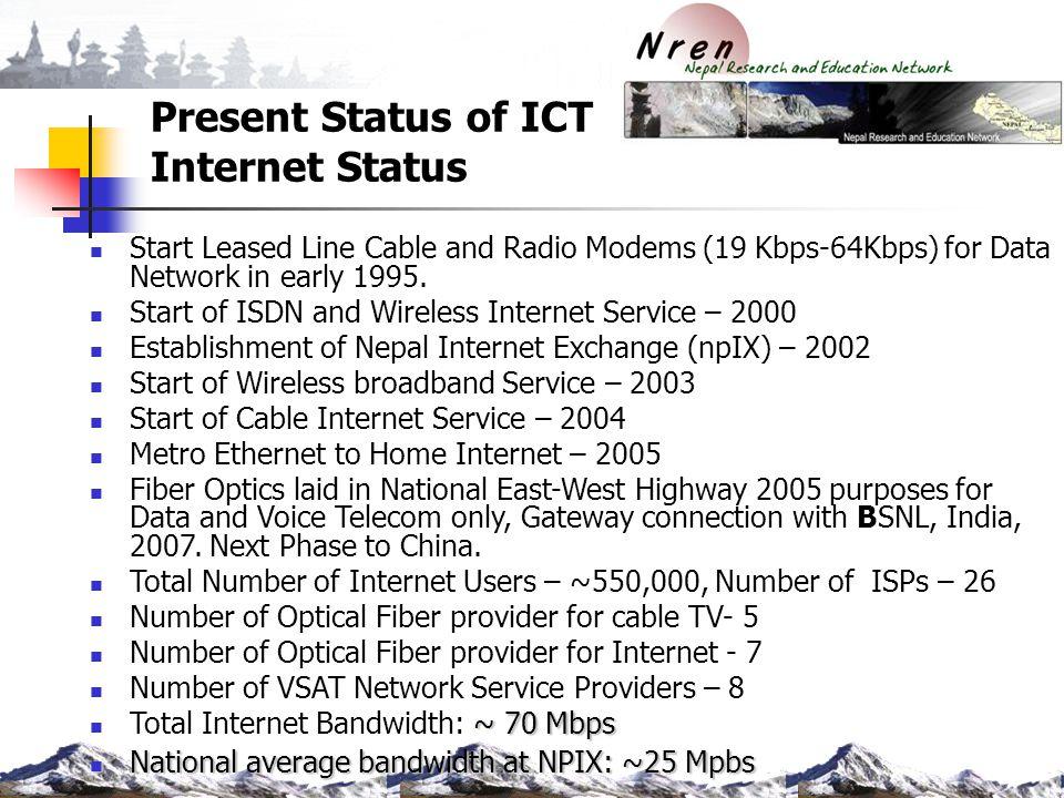 Present Status of ICT Internet Status