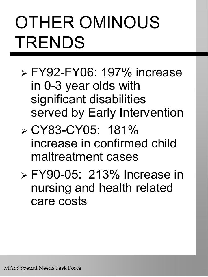 OTHER OMINOUS TRENDS FY92-FY06: 197% increase in 0-3 year olds with significant disabilities served by Early Intervention.