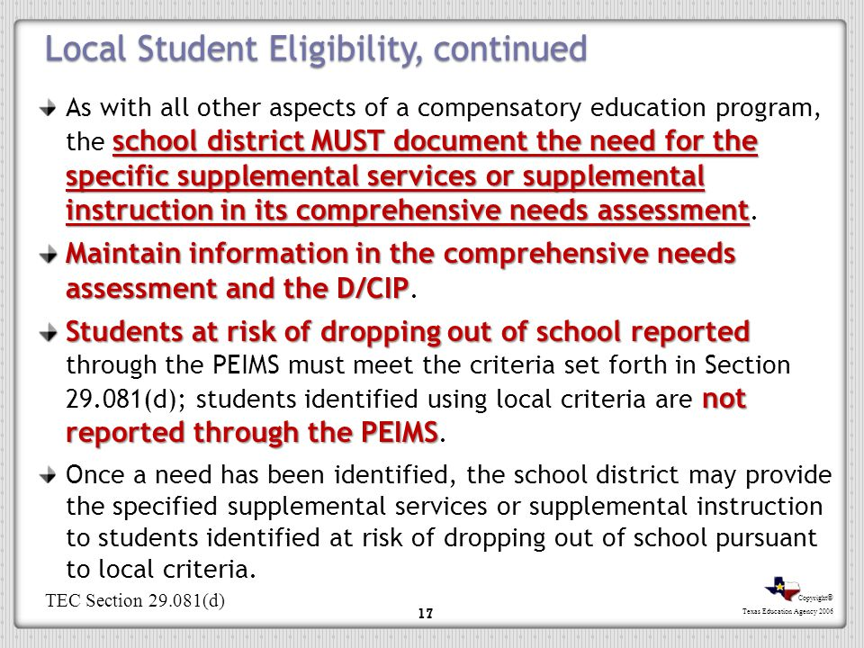 Local Student Eligibility, continued