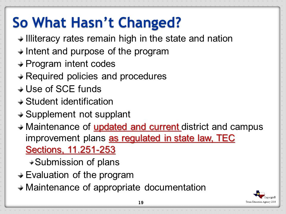 So What Hasn't Changed Illiteracy rates remain high in the state and nation. Intent and purpose of the program.