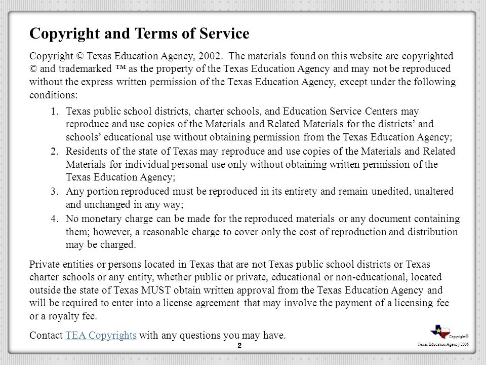 Copyright and Terms of Service
