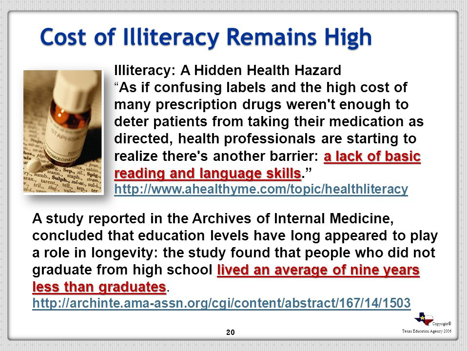 Cost of Illiteracy Remains High