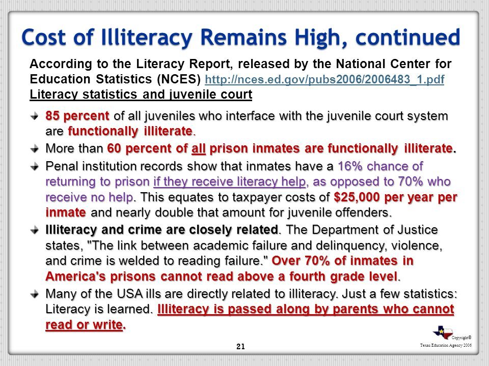 Cost of Illiteracy Remains High, continued