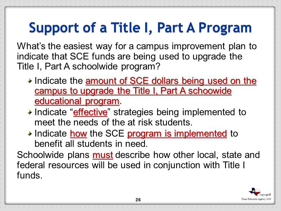 Support of a Title I, Part A Program