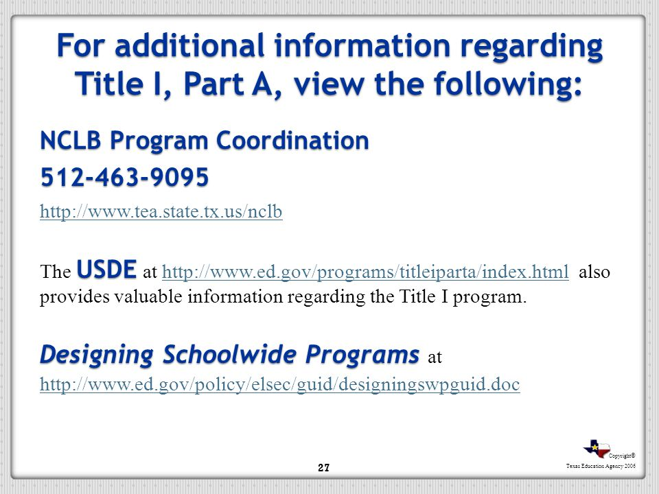 For additional information regarding Title I, Part A, view the following: