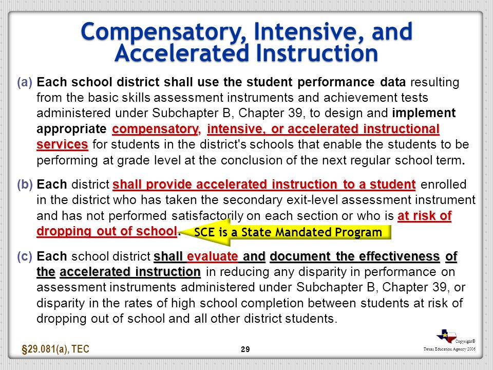 Compensatory, Intensive, and Accelerated Instruction