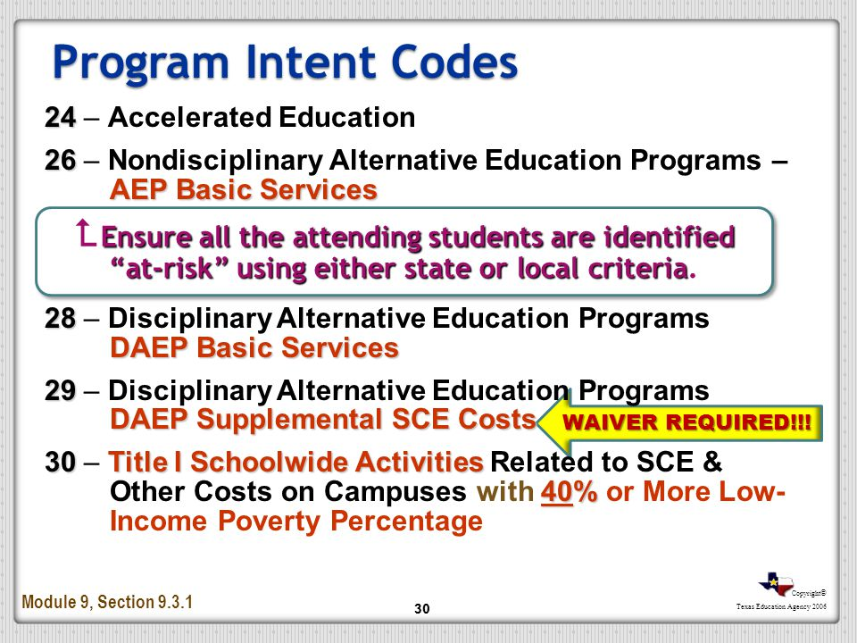 Program Intent Codes 24 – Accelerated Education. 26 – Nondisciplinary Alternative Education Programs – AEP Basic Services.