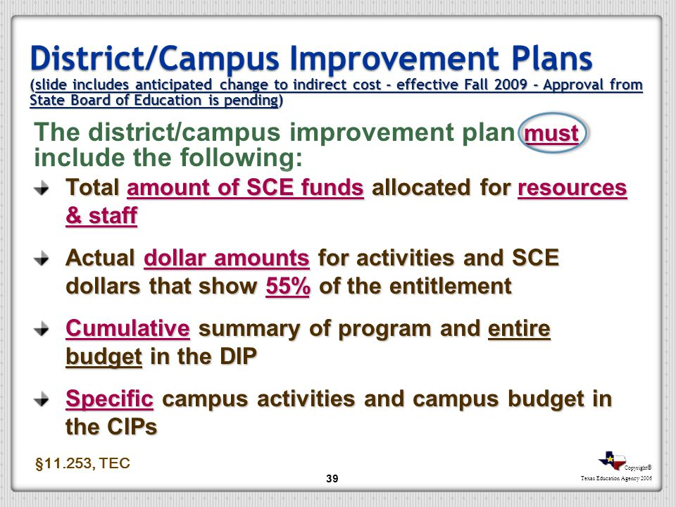 District/Campus Improvement Plans (slide includes anticipated change to indirect cost - effective Fall 2009 - Approval from State Board of Education is pending)