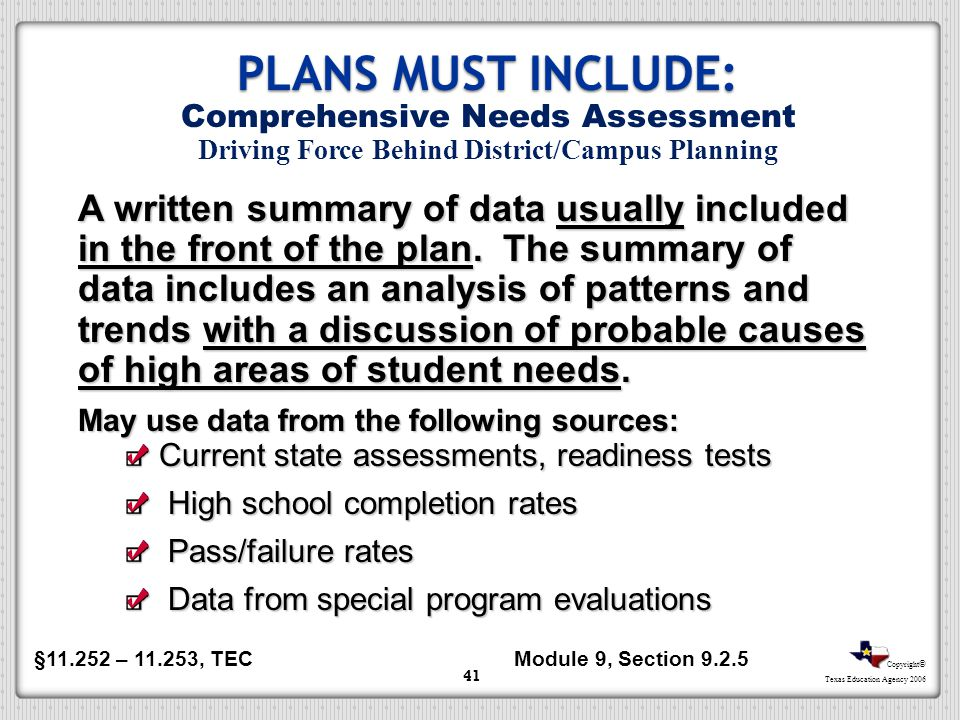 PLANS MUST INCLUDE: Comprehensive Needs Assessment Driving Force Behind District/Campus Planning.