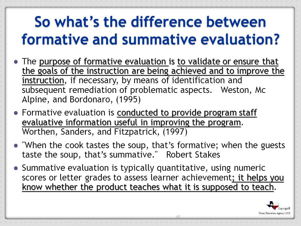 So what's the difference between formative and summative evaluation