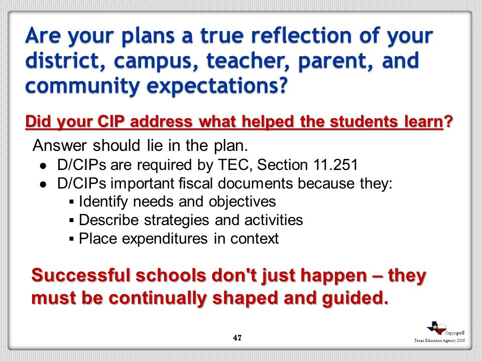 Are your plans a true reflection of your district, campus, teacher, parent, and community expectations