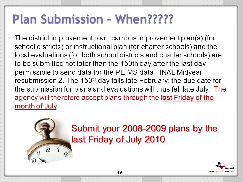 Plan Submission – When