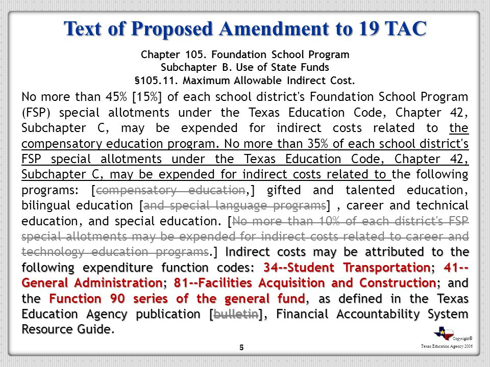 Text of Proposed Amendment to 19 TAC