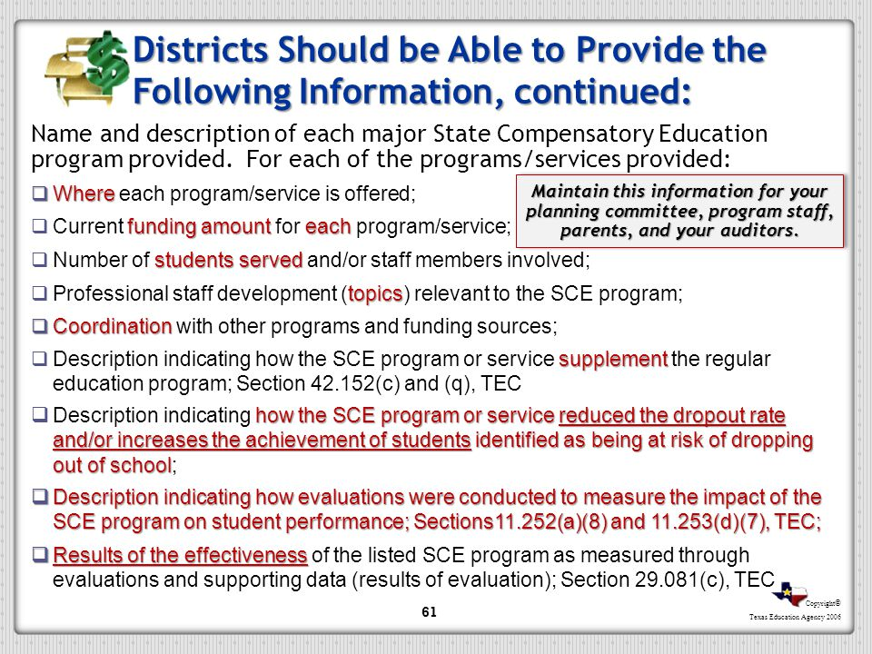 Districts Should be Able to Provide the Following Information, continued: