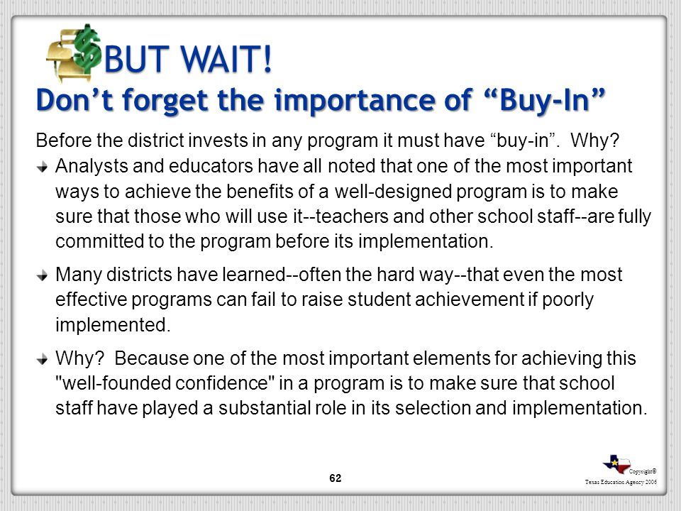 BUT WAIT! Don't forget the importance of Buy-In