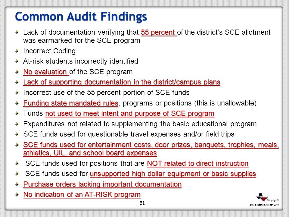 Common Audit Findings Lack of documentation verifying that 55 percent of the district's SCE allotment was earmarked for the SCE program.