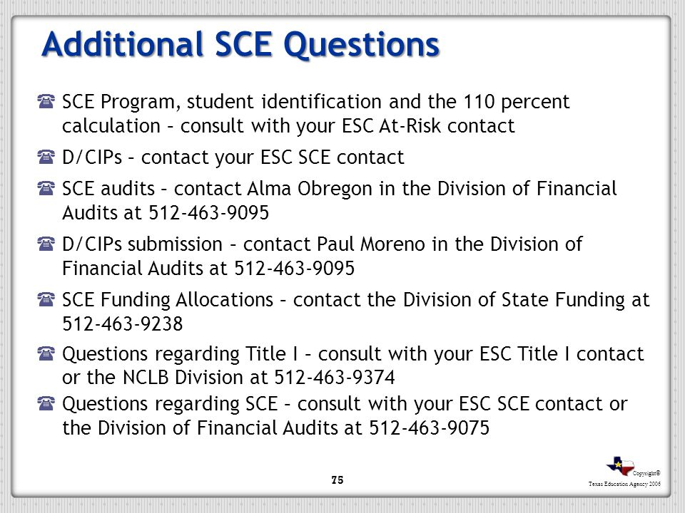 Additional SCE Questions