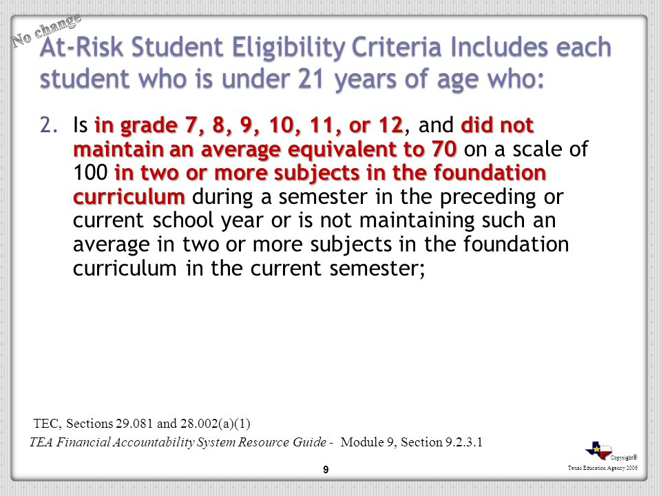 No change At-Risk Student Eligibility Criteria Includes each student who is under 21 years of age who: