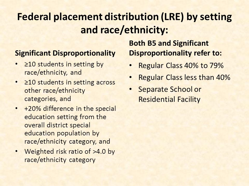 Federal placement distribution (LRE) by setting and race/ethnicity: