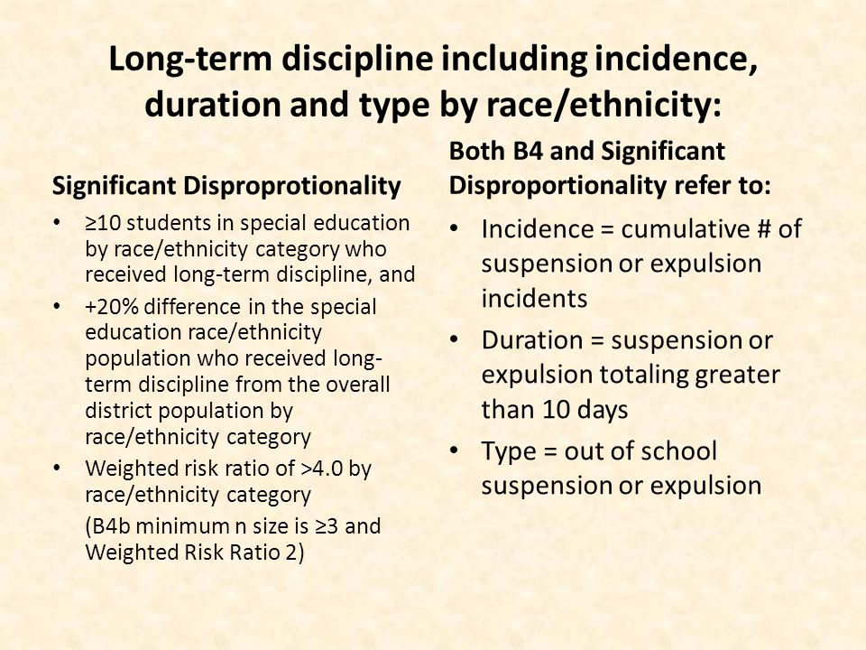 Long-term discipline including incidence, duration and type by race/ethnicity: