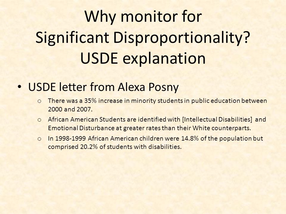 Why monitor for Significant Disproportionality USDE explanation