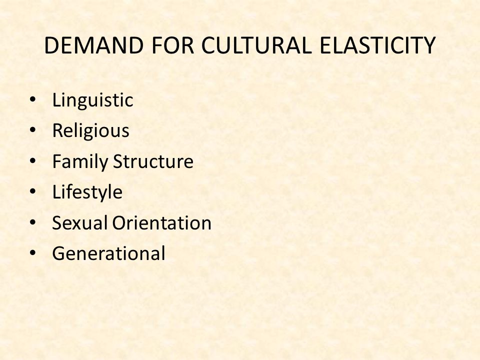 DEMAND FOR CULTURAL ELASTICITY