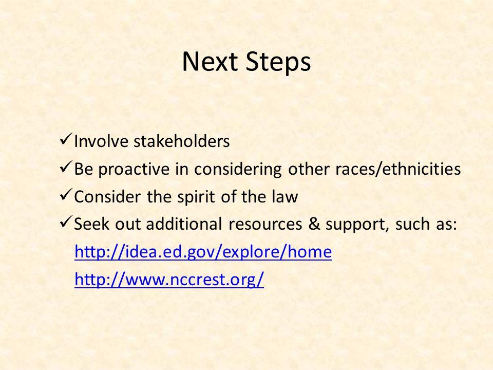 Next Steps Involve stakeholders