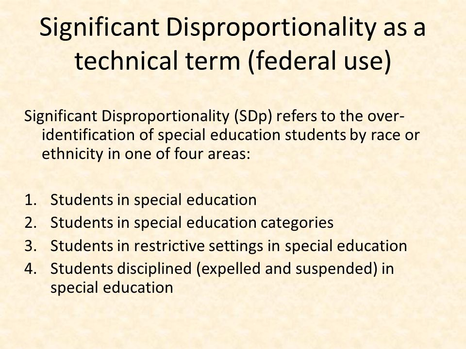 Significant Disproportionality as a technical term (federal use)