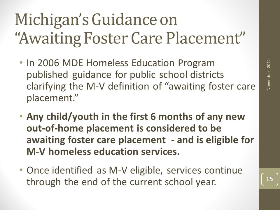 Michigan's Guidance on Awaiting Foster Care Placement