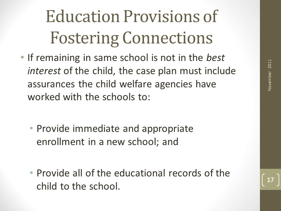 Education Provisions of Fostering Connections