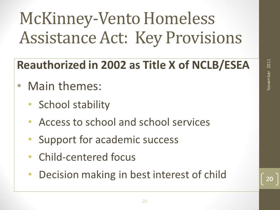 McKinney-Vento Homeless Assistance Act: Key Provisions