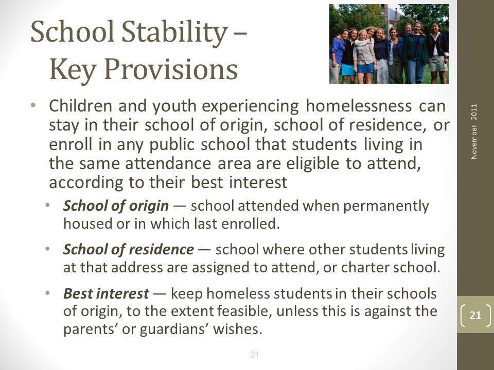 School Stability – Key Provisions