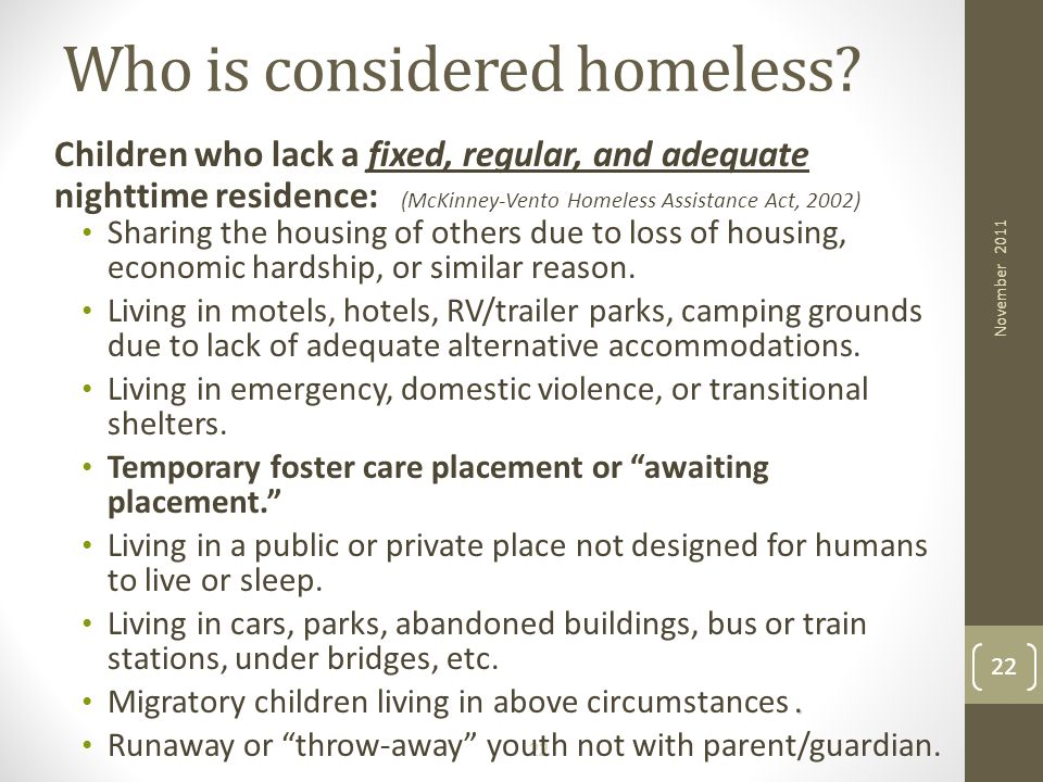 Who is considered homeless